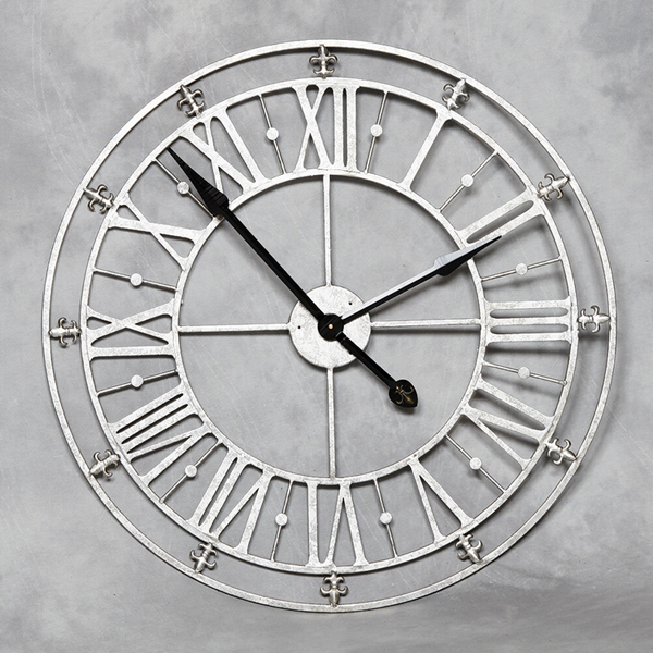 Large Antiqued Silver Skeleton Clock