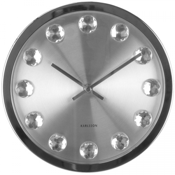 You are here: Home > Big diamond silver wall clock 23.5cm