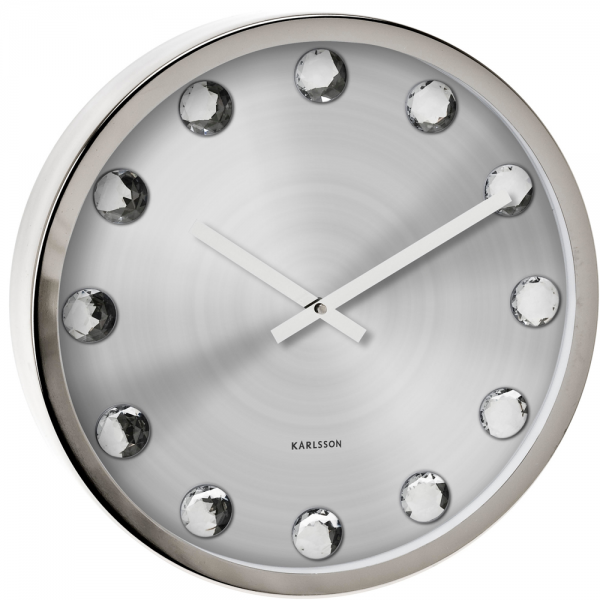 Big Diamond Silver Wall Clock 39.5cm