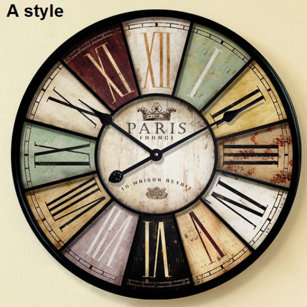 60cm & 34cm antique wall clock Large mute iron craft vintage old wall ...