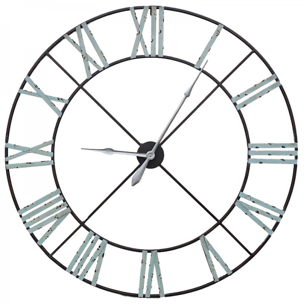 Extra Large Distressed Contemporary Skeleton Metal Wall Clock