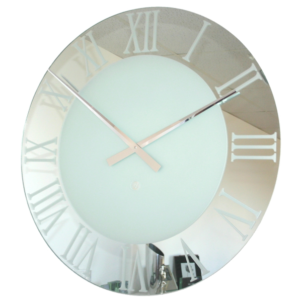 ... Roco Verre Extra Large Roman Frosted Wall Clock at Contemporary Heaven