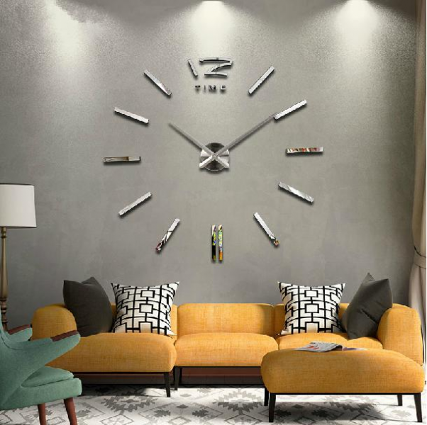 Luxury Large DIY 3D Wall Clock Home Decor Bell Cool Mirrors Stickers ...
