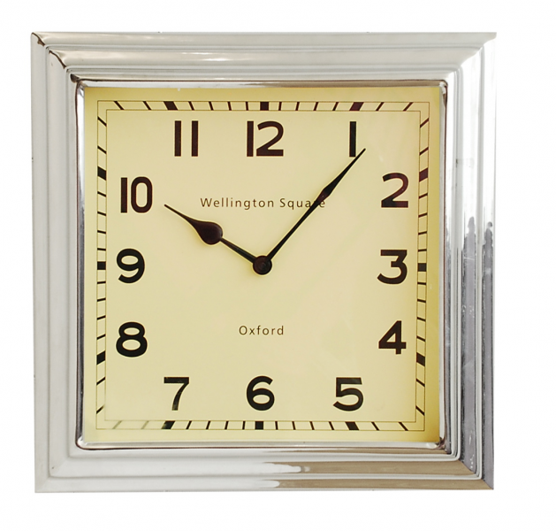 Square Nickel large wall clock | Beverley Hills Home