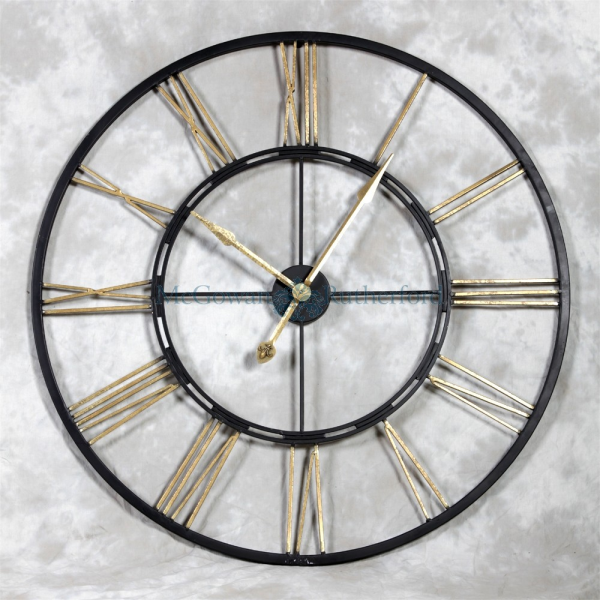 Skeleton Large Black and Gold Iron Clock - Wall Clocks - Clocks - At ...