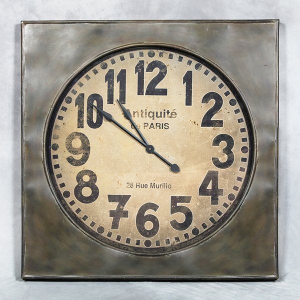 Large Square Industrial Style Metal Wall Clock with Glass Face
