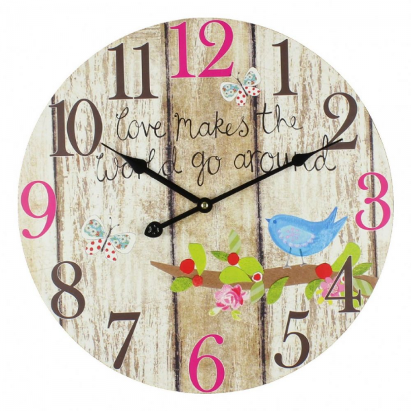 Large Colourful Round Wooden Effect Wall Clock - 40cm
