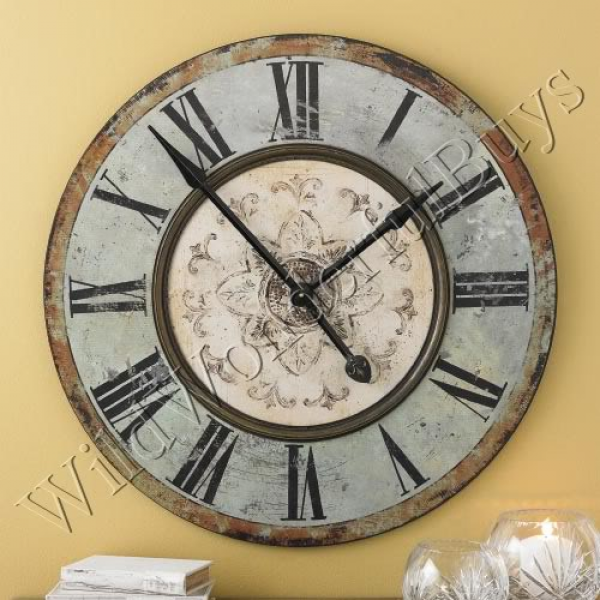 Details about Large Gallery Wooden WALL CLOCK 29 Green Blue NEW