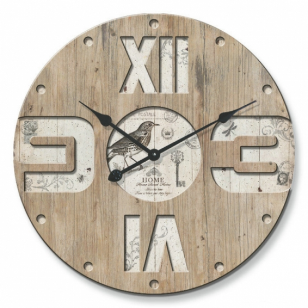 Large Round Industrial Wood 60cm Bird Wall Clock