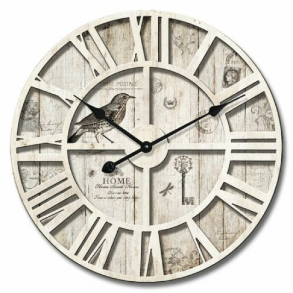 Large Round Industrial Wood 60cm Bird Wall Clock - Cream