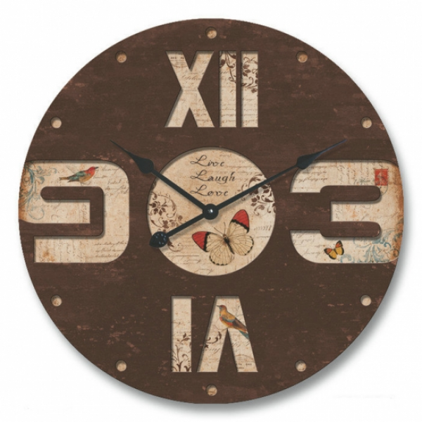 Large Round Industrial Wood 60cm Butterfly Wall Clock