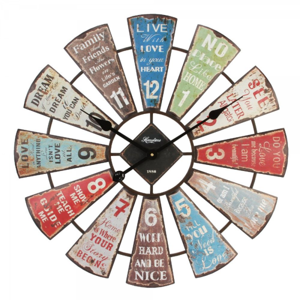 Large Colourful Fan Style Metal Wall Clock With Interesting Typography