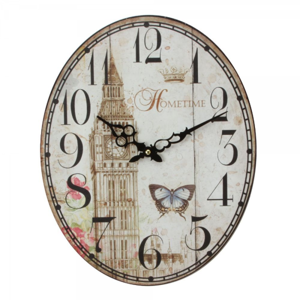 Contemporary Oval Big Ben Design Metal Wall Clock