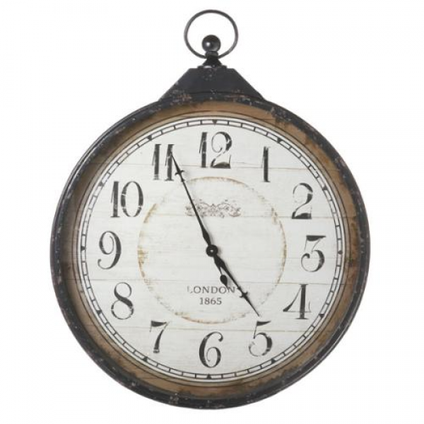 ... 75 Extra Large Distressed Antique-Style Black Pocket Watch Wall Clock