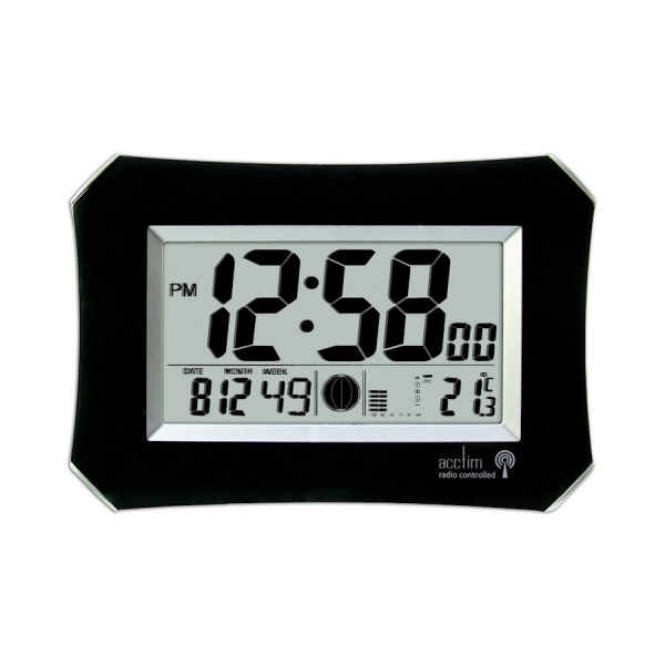 ... ACCTIM HALO BLACK DIGITAL WALL CLOCK RADIO CONTROLLED LARGE DISPLAY