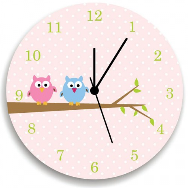 Owls on Tree Pink Wall Clock for girls Bedroom, Nursery Wall decor ...