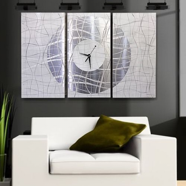 Large Modern White & Silver Metal Abstract Wall Clock - Contemporary ...