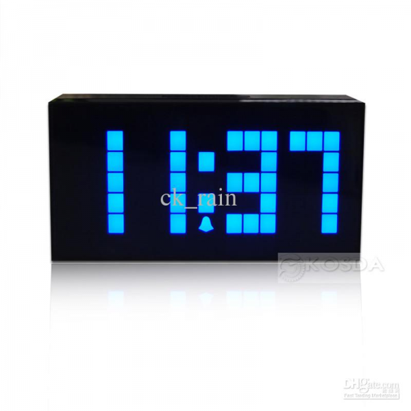Large Jumbo LED Alarm Clock Display Wall LED Digital Clocks Blue ...