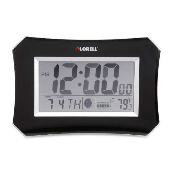 ... lcd wall alarm clock lorell 60998 llr60998 large lcd wall clock shows