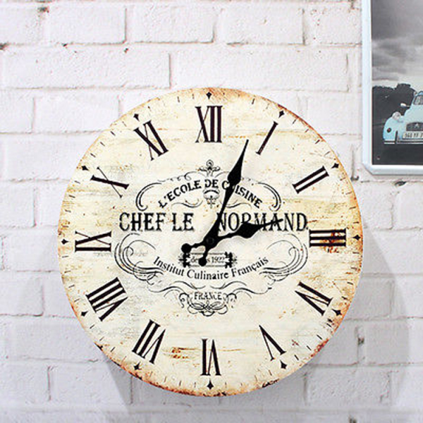 Large Vintage Style Wooden Wall Clock Distressed Romantic French ...