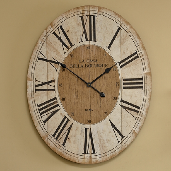 Large wooden oval French style wall clock kitchen cream beige roman ...