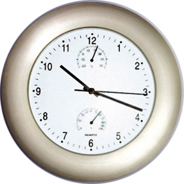 Wall Clock with Thermometer Hygrometer Large Easy Read Dial New | eBay