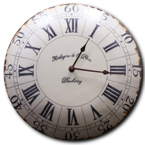 old enamelled french wall clock - french country decor