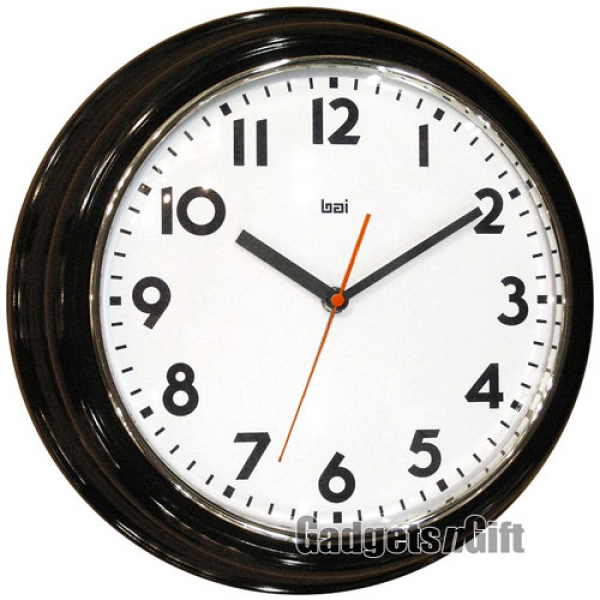 ... large round wall clock in black bai design retro modern 12 large round