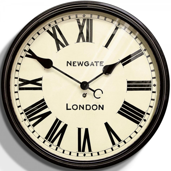 Large black dial wall clock 50cm