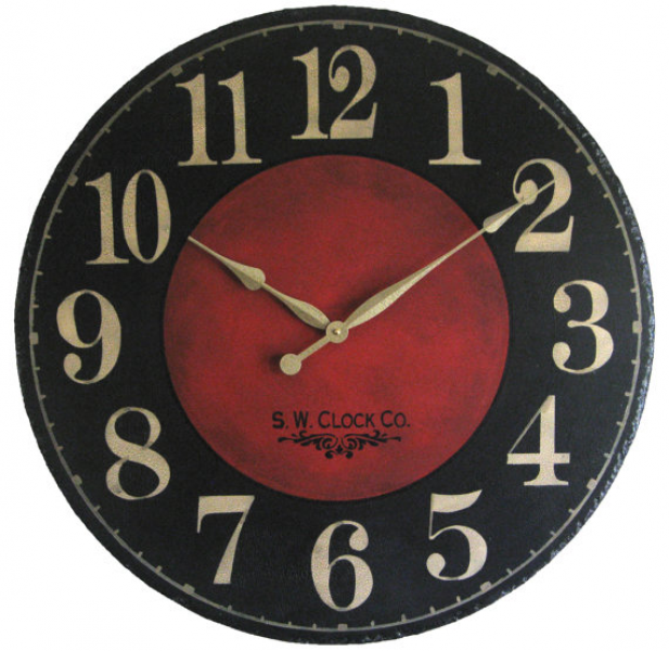 Large Wall Clock 24 inch Marseille - round dark black red regular ...