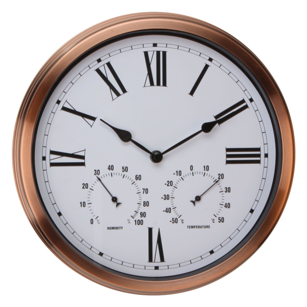 Large Copper Coloured Outdoor Wall Clock