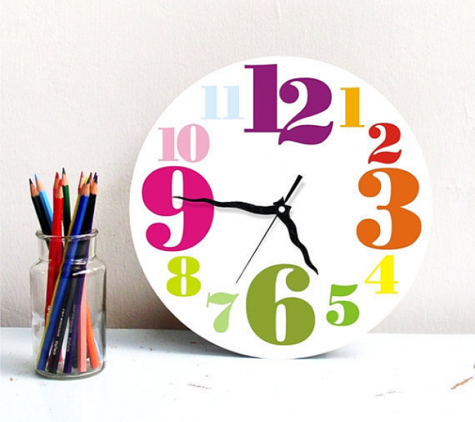 Rainbow colorful Large round wall clock from ArtisEverything on