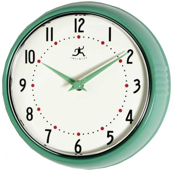 Retro Round Metal Wall Clock (Green) Wall Clock
