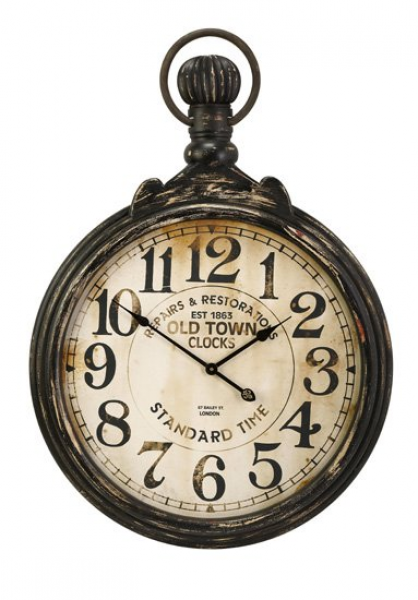 ... Old Fashioned Antique Oversized Pocket Watch Wall Clock 39 Clocks