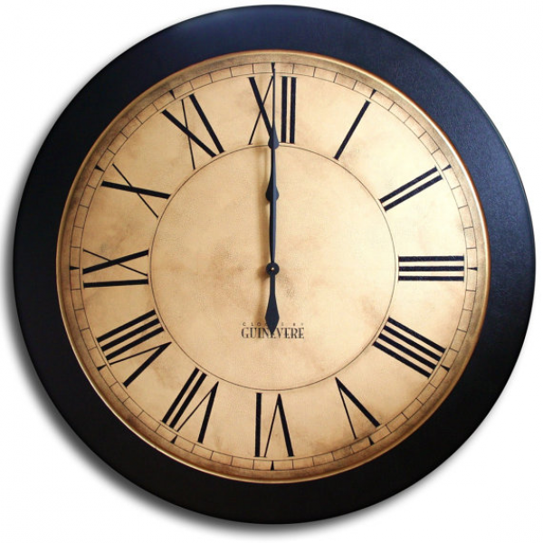 Large Wall Clock 24in Antique Style Big Round Clocks WHITING ...