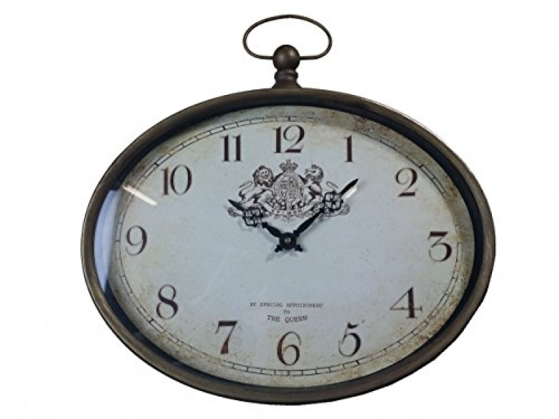 ... Vintage Antique Wooden Wall Clock Analog Europen Country Retro