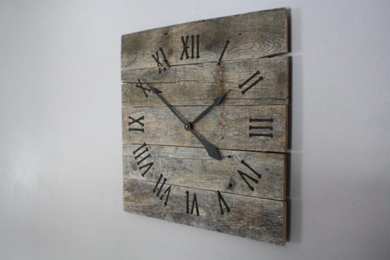 Large Rustic Wall Clock, Reclaimed Gray Pallet Wood CUSTOM. Natural ...