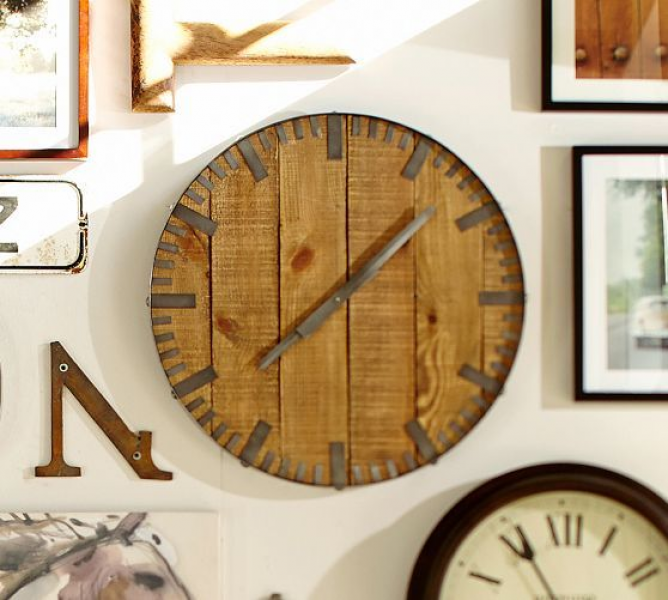 Rustic Wood Wall Clock | Pottery Barn | Furniture & Accessories | Pin ...