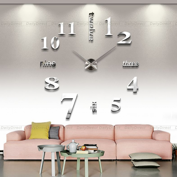 ... 3D-Silver-Face-Large-DIY-Sticker-Wall-Clock-Frameless-Big-Hours-Timer