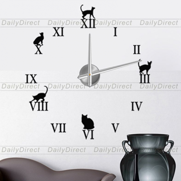 Wholesale Adhesive Modern 3D Frameless Large DIY Wall Clock Room Roman ...