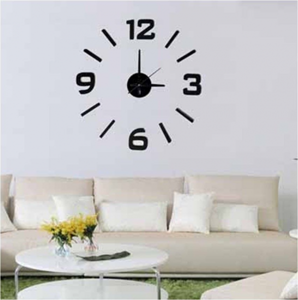3D Modern Designs Frameless Large Interior Wall Clock DIY Home Decor ...