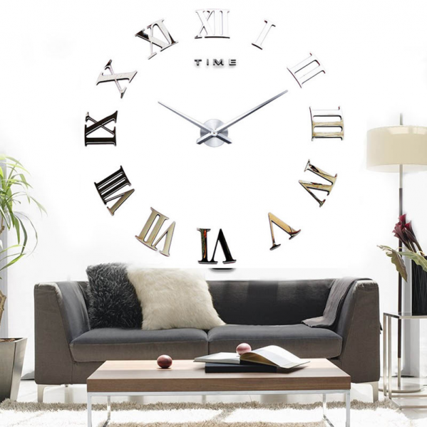Luxury 3D Mirror Surface Roman Number Modern Large Wall Clock Home ...