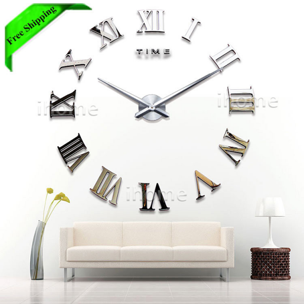 Buy Living Room DIY large quartz Acrylic mirror wall clock, 3D Roman ...