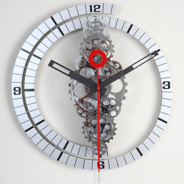 Large Moving Gear Wall Clock - Spiral Bezel