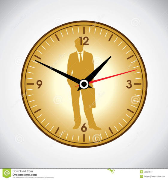 Large yellow wall clock and business man, time punctuality concept.