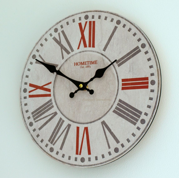 ... Style Wall Clock - Roman Numerals Ornate Hand Dials in White Red Grey