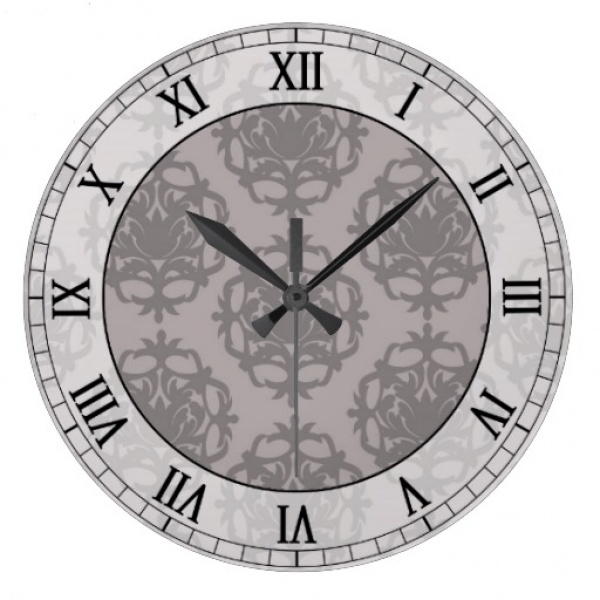 silver grey ornate damask roman numerals round wall clock | Zazzle