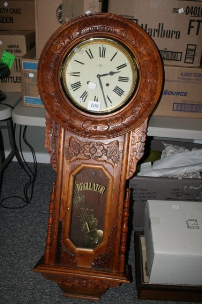 108: Large Carved Regulator Wall Clock WILL NOT SHIP : Lot 108