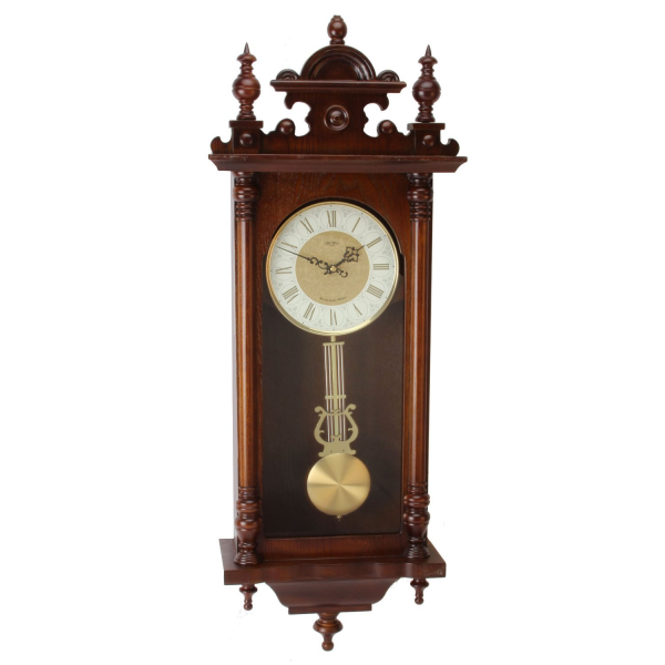 Large Deluxe Walnut Traditional Regulator Wall Clock - Westminster ...