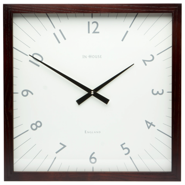 In House - Square White Wall Clock with Walnut Frame | Peter's of ...